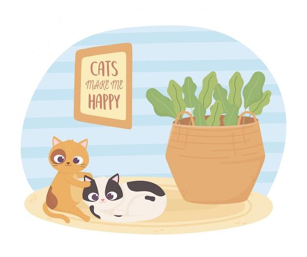 Los gatos me hacen feliz, marco con letras y gatos jugando
