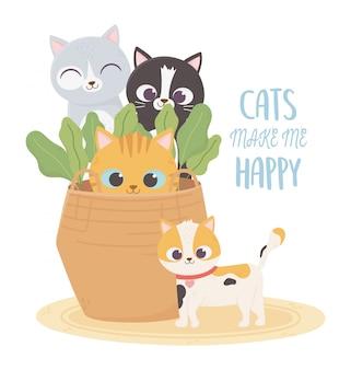 Los gatos me hacen feliz, mascotas gatos en cesta de mimbre plantas dibujos animados
