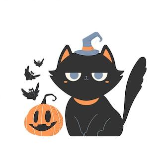 Gatos negros lindos en personaje de dibujos animados de sombrero de bruja.