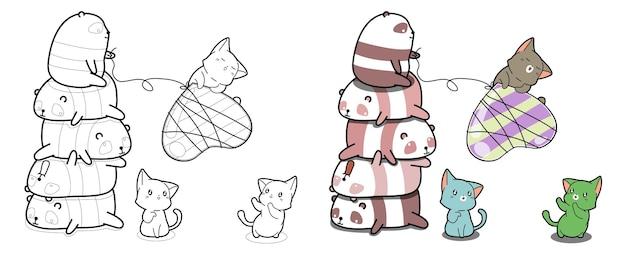 Gatos y pandas con página para colorear de dibujos animados de dulces de corazón