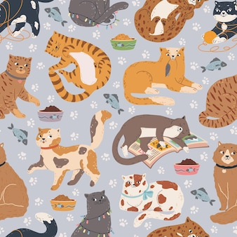 Gatos de patrones sin fisuras los gatitos lindos duermen jugar con juguetes sentarse. textura de vector de animales de compañía de dibujos animados
