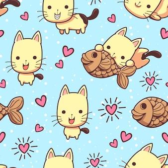 Gatos de patrones sin fisuras y golosinas taiyaki