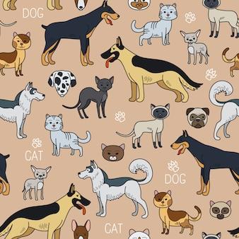 Gatos y perros de patrones sin fisuras.