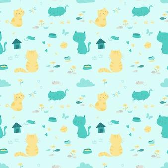 Gatos en relax acción dibujos animados diseño de patrones sin fisuras.
