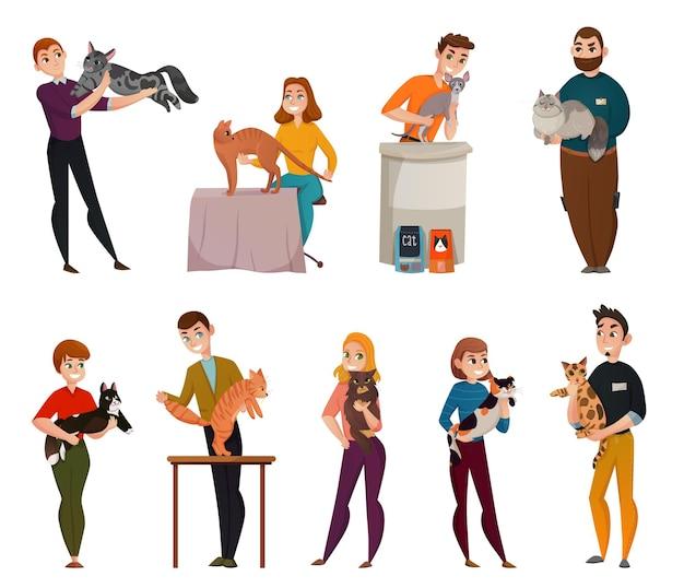 Los gatos de todas las razas muestran iconos de dibujos animados aislados con dueños que presentan mascotas al jurado aislado ilustración vectorial
