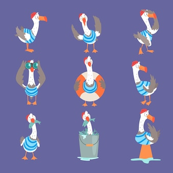 Gaviota de divertidos dibujos animados que muestra diferentes acciones y conjunto de emociones, personajes de cómic lindo pájaro