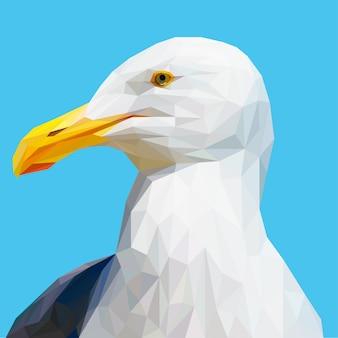 Gaviota pájaro con vector poligonal