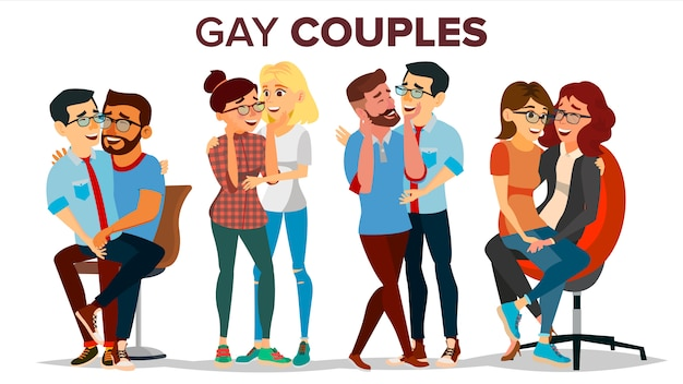Gay, pareja de lesbianas