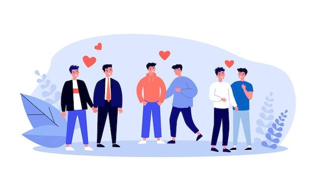 Gays felices saliendo en parejas ilustración plana