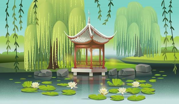 Gazebo chino en el lago con nenúfares y sauces. ilustración de vector de estilo de dibujos animados.