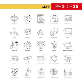 Gdpr black line icon - 25 conjunto de iconos de esquema de negocios