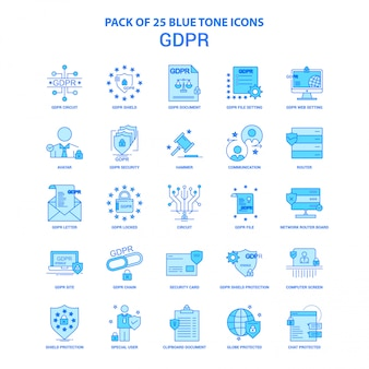 Gdpr blue tone icon pack