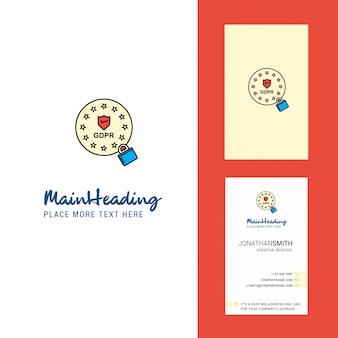 Gdpr logo creativo y tarjeta de visita.