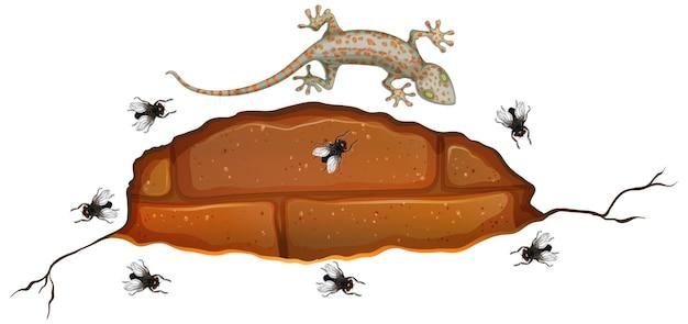 Gecko en pared de ladrillo con muchas moscas en estilo de dibujos animados