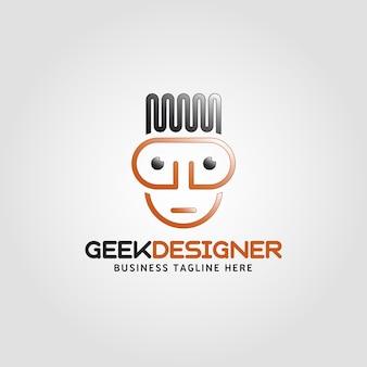 Geek designer - plantilla de logotipo de letra gd humana