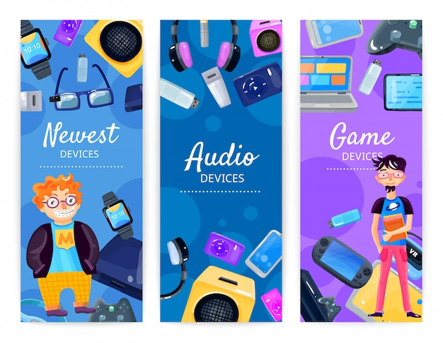 Geek devices banners verticales
