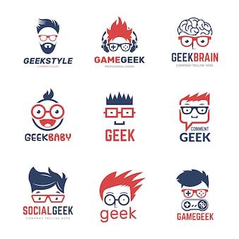 Geek logo. identidad empresarial de programadores inteligentes pensando plantilla de diseño de vectores de educación informática nerd