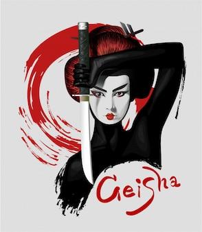 Geisha en la ilustración custume negro