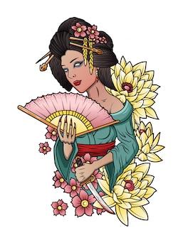 Geisha japonesa con un cuchillo en la mano