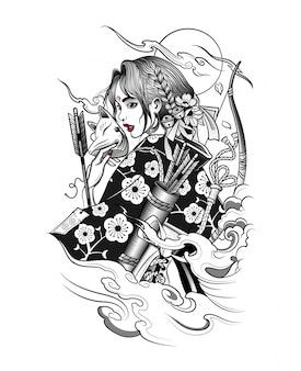 Geisha japonesa en máscara de zorro con pistolas