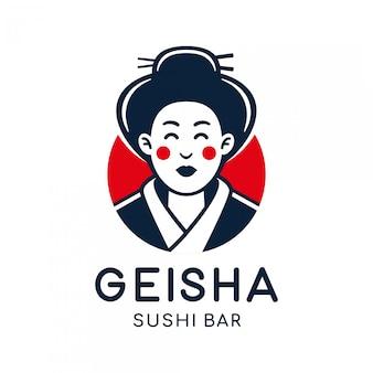 Geisha japonesa vector logo ilustración