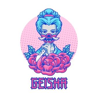 Geisha máscara dibujo a mano ilustración