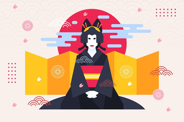 Geisha mujer fondo geométrico estilo japonés