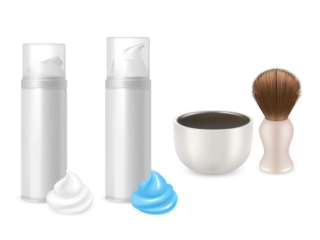 Gel de afeitar y botellas de espuma, brocha de afeitar y maquetas de tazas.