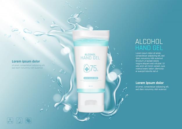 Gel de alcohol de lavado a mano con salpicaduras de agua