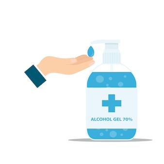 Gel de alcohol. vector de gel de lavado a mano. gel de lavado a mano y vector de bacterias botella de bomba desinfectante de manos, gel de lavado, gel de alcohol.