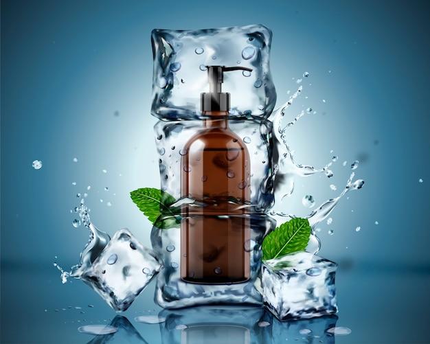 Gel de baño congelado en cubitos de hielo con hojas de menta y salpicaduras de agua sobre fondo azul.