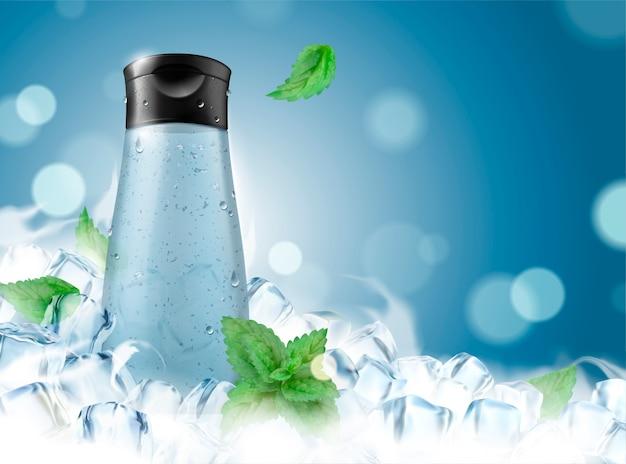 Gel de baño refrescante para hombres con cubitos de hielo congelados y hojas de menta en la ilustración 3d, botella en blanco sobre fondo bokeh