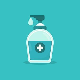 Gel desinfectante de manos para lavado de botellas con cruz médica