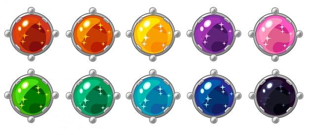 Gema redonda de colores brillantes con marco dorado para interfaz de juego móvil