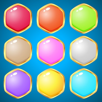 Gemas hexagonales de 9 colores para juegos de puzzle.