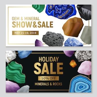 Gemas minerales y rocas pancartas horizontales realistas con publicidad de venta e ilustración colorida de imágenes de piedra