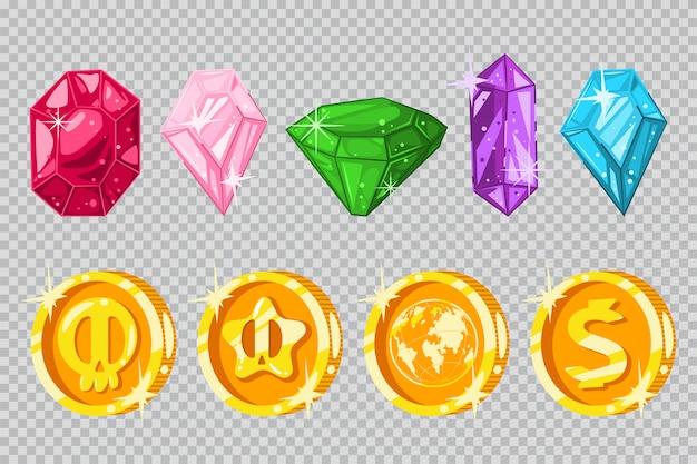 Gemas y monedas de oro.