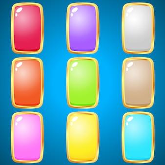 Gemas rectángulo 9 colores para juegos de puzzle.