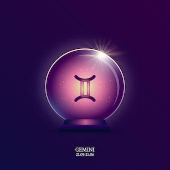 Geminis. signo del horóscopo. icono del zodiaco en bola mágica