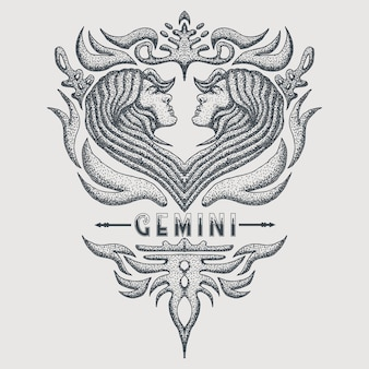 Géminis zodiaco de la vendimia