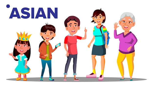 Generación asiática mujer conjunto personas
