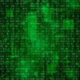 Generación de datos binarios aleatorios. información de codificación. fondo de matriz. ilustración