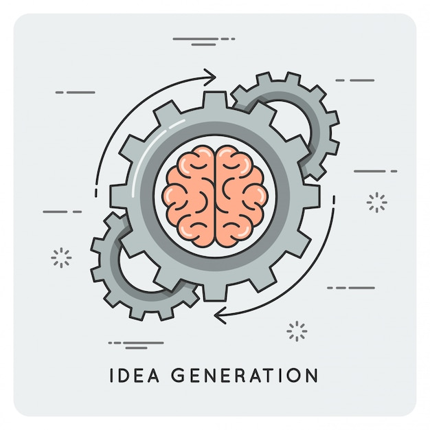 Generación de ideas. estilo plano lineal.
