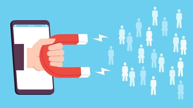 Generación líder. la pantalla del teléfono inteligente con la mano que sostiene el imán atrae nuevos iconos de clientes. vector plano de marketing entrante de redes sociales. ilustración de publicidad de marketing de plomo, estrategia de redes sociales.
