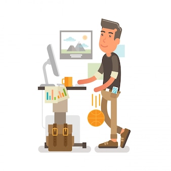 Generación y, millennial at office work trabajador en la oficina