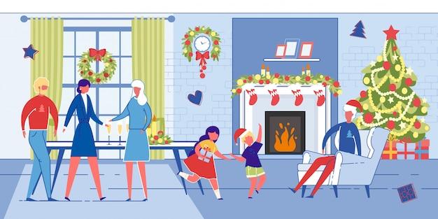 Las generaciones familiares celebran la navidad juntos.