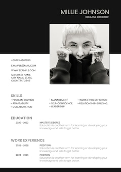 Generador de currículum vitae de plantilla de cv editable de moda creativa