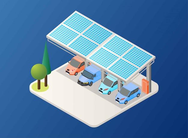 Generando energía solar usando el panel en el área de estacionamiento de automóviles, ilustración isométrica