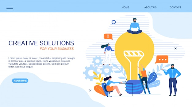 Generar página de aterrizaje empresarial de solución creativa