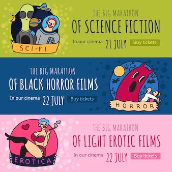 Géneros de cine 3 pancartas horizontales de colores divertidos con películas de terror de ciencia ficción y eróticas aisladas